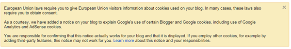 EU Cookies notice in Dashboard