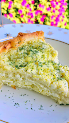 Balkan Cheese Pie - Burek recipe, using cottage cheese and feta, topped with dill. Just easy layering of cheese egg mixture with phyllo dough, like a Mediterranean or Eastern European quiche
