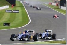 Le due Sauber nel gran premio di Gran Bretagna 2016