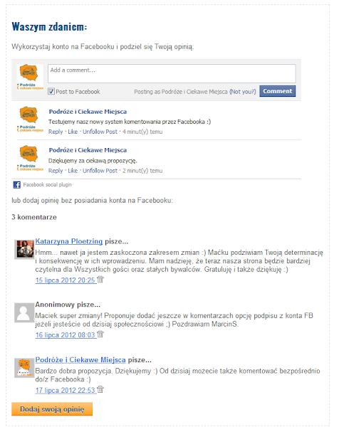 komentowanie bloga przez facebook