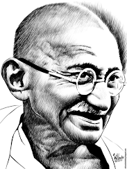 Ink drawing of Mahatma Gandhi