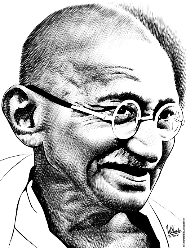 Ink drawing of Mahatma Gandhi, using Krita 2.4.