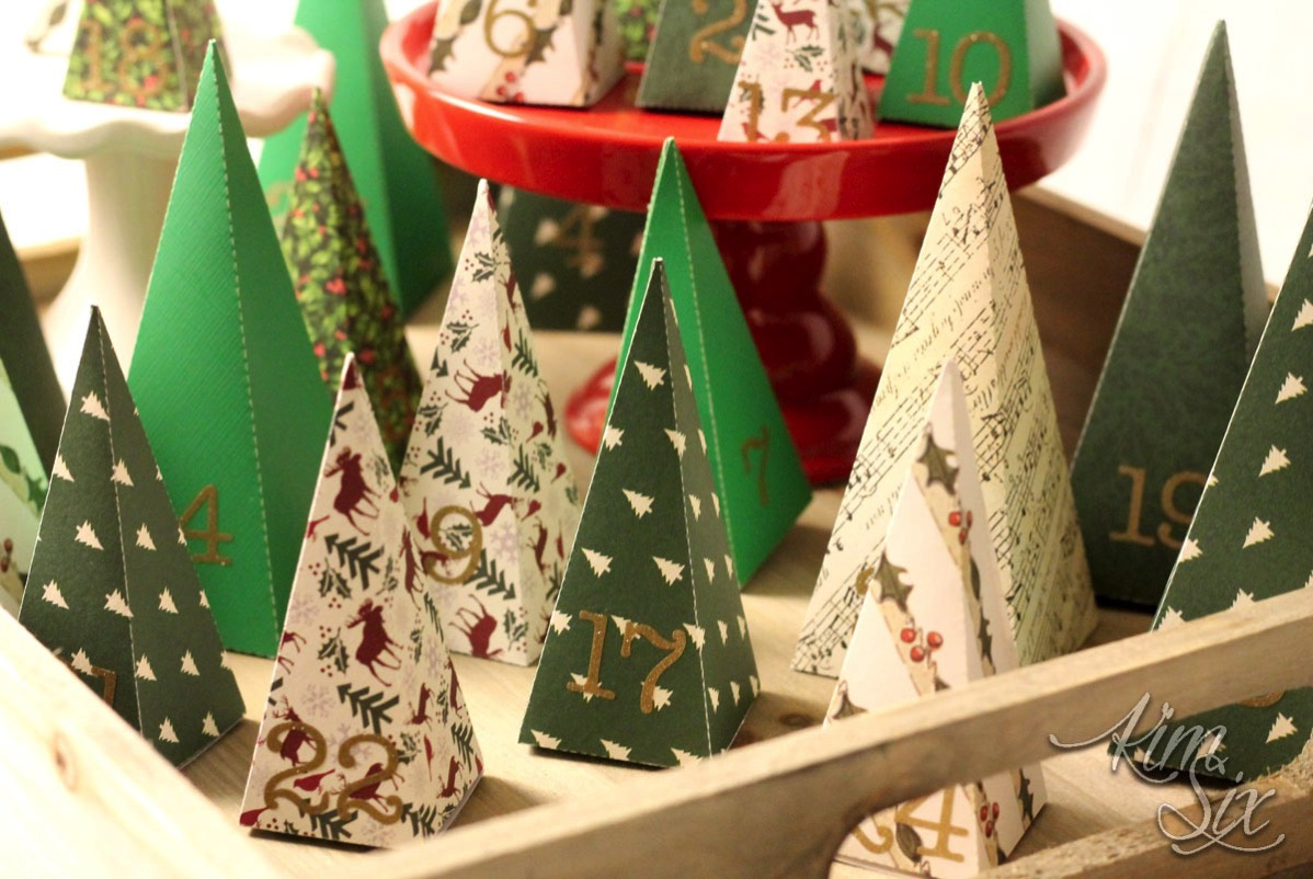 Folded paper pyramid christmas tree