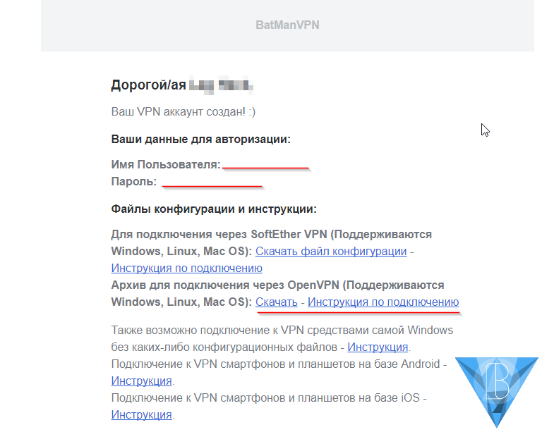 Логин, Пароль, ссылки на инструкции и конфигурационный архив OpenVPN