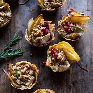 Crispy Prosciutto Baked Brie Bites with Honey Pears + Walnuts..