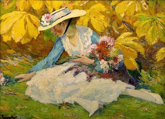 Edward Cucuel - Woman with Flowers