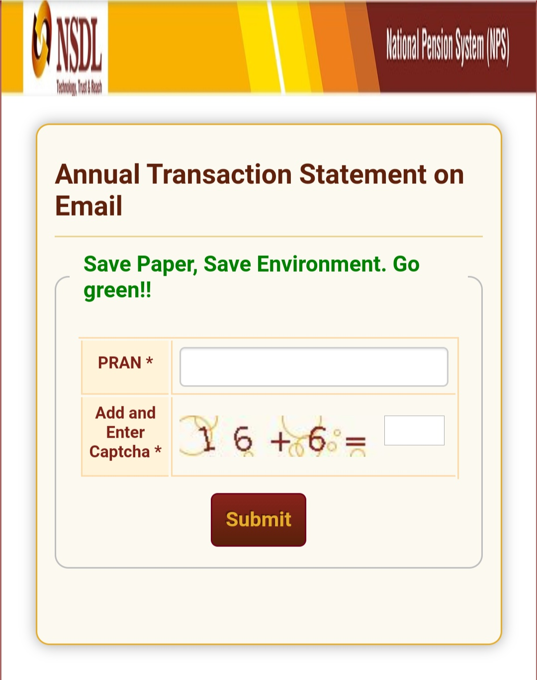 To view the Annual Payment / Statement of NPS 2020-21 & to get in e-mail