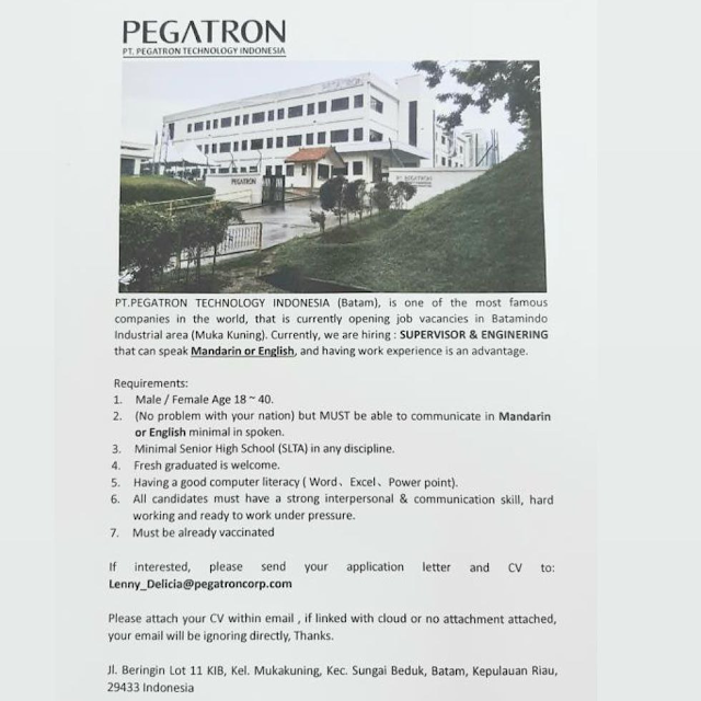 Loker Supervisor and Enginering di PT Pegatron Technology Indonesia