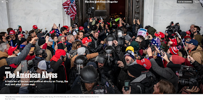 NY Time magazine artice with phot of Trump riot