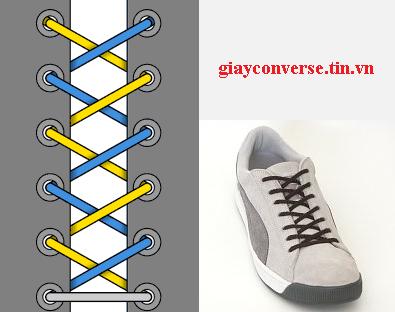 Cách buộc dây giày Converse kiểu trưng bày