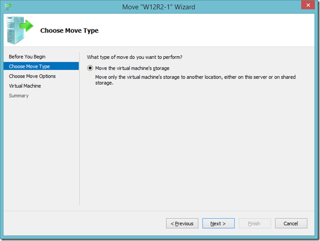 Hyper-V Move Wizard dialog on Windows 8.1