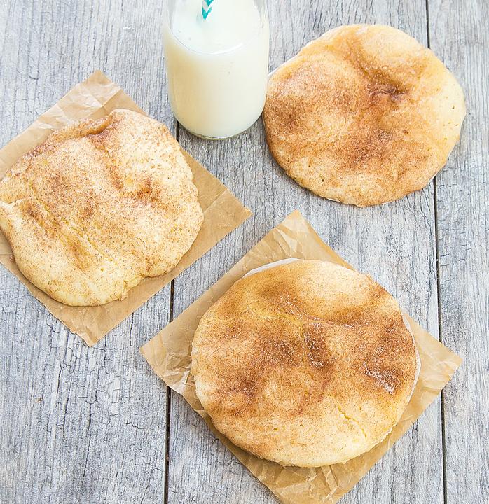 overhead photo of three snickerdoodle cookies