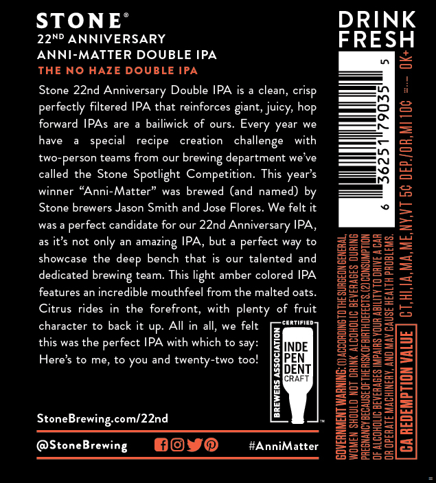Stone Adding NEW 22 Anni-Matter The No Haze Double IPA Anniversary Ale
