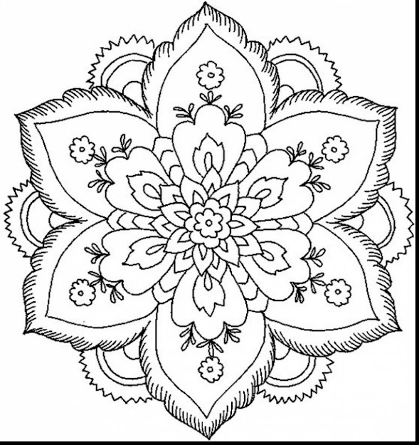 Stunning Nature Flower Mandala Coloring Pages With Coloring Pages For Adults  Flowers And Coloring Pages For
