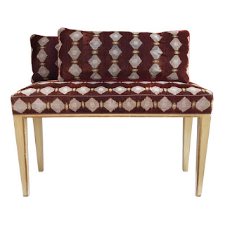Ikat Corduroy Upholstered Bench & Cushions