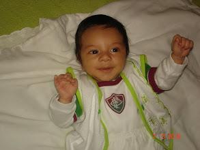 Photo: Bruninho, meu afilhado de batismo, com apenas 01 mês de vida, já é tricolor de coração !