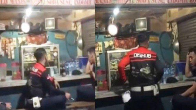 Petugas Dishub Nongkrong di Warkop saat PPKM, Terekam Netizen!