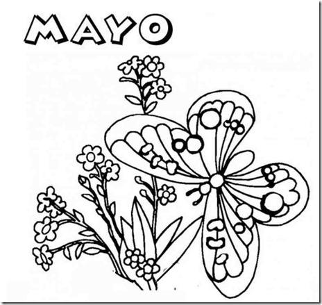 colorear dibujos mes de mayo para niños