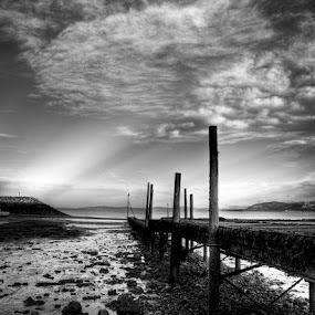 Low Tide by Mike Shields - Landscapes Beaches ( water, black & white, sea, jetty, rocks )