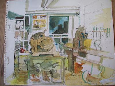 659 Interior of cafe kitchen, Witney, Oxon