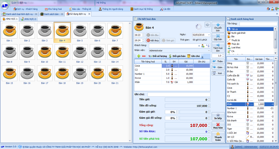 Phần mềm quản lý cafe, bida, karaoke, quán ăn