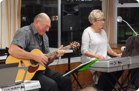 Our guest artists, Jan and Kevin Johnston, enthralled the audience with a variety of genres of music during their 45 minute performance. Photo courtesy of Dennis Lyons.