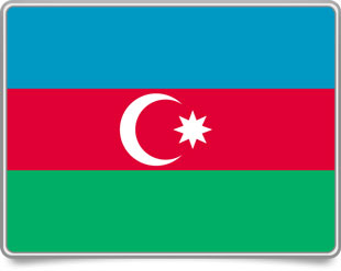 Azerbaijani framed flag icons with box shadow