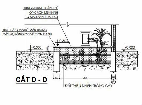 Mặt cắt D-D của bồn hoa chân cầu thang