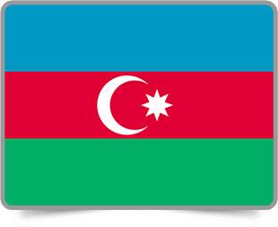 Azerbaijani framed flag icons with box shadow