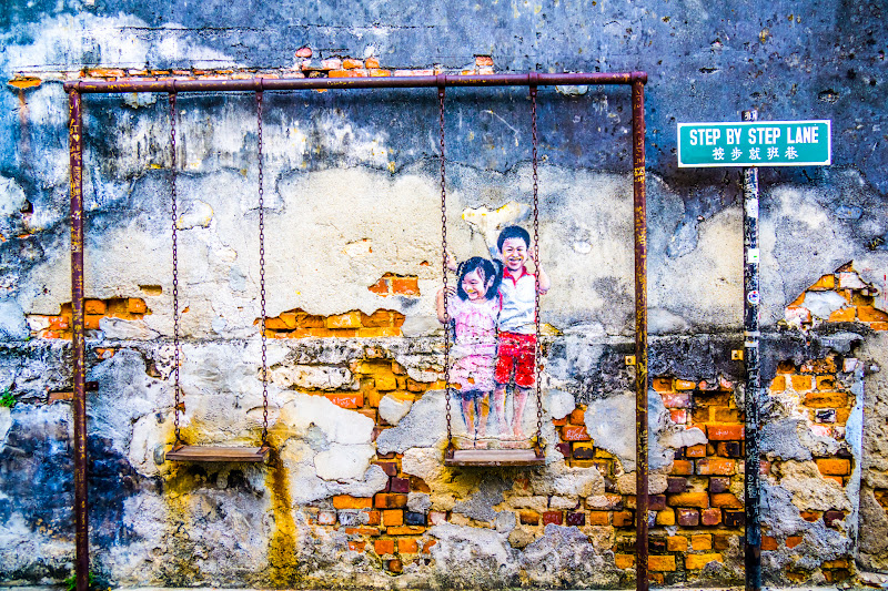 Penang George Town Street Art Brother and Sister on a Swing1