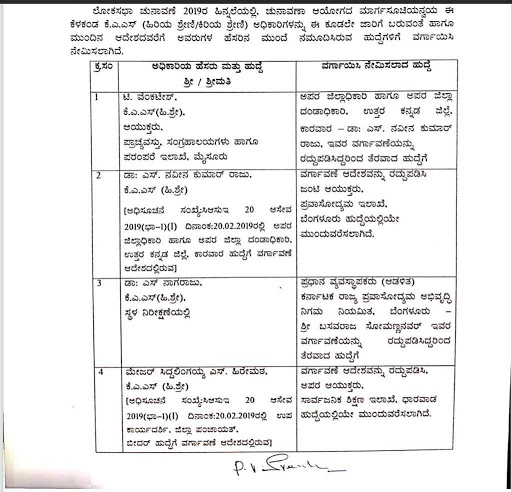 The Karnataka Government has canceled the order of transfer of Commissioner, SA, Shi, Department, Dharwad