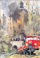Transporter brandbil vid slottet