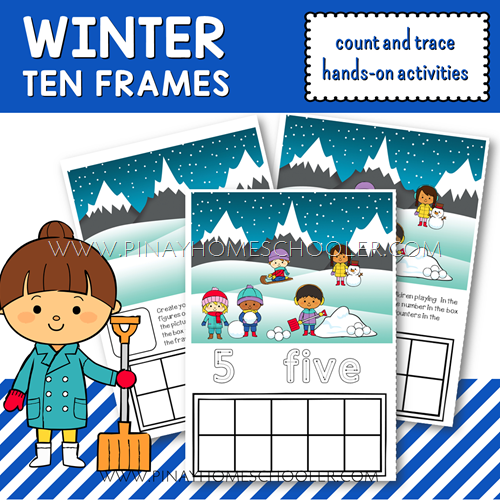 Winter Printable Ten Frames Count and Write Activities