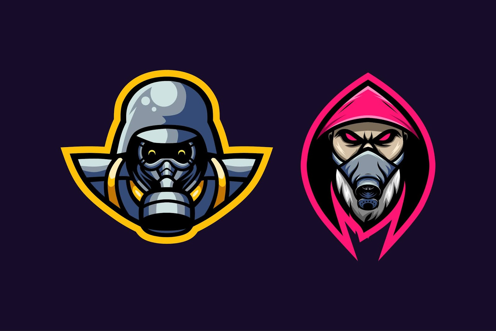Two Mascot Gas Mask Free Download Vector CDR, AI, EPS and PNG Formats