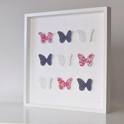 Grand cadre papillons Bleu, blanc, rouge Mille Coquelicots