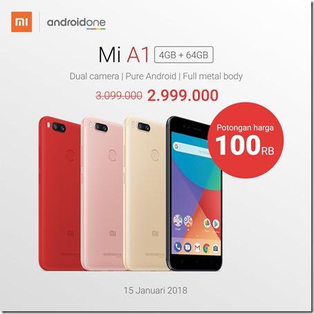Harga Xiaomi Mi A1 Android One Turun, Kini Hanya 3 Juta!
