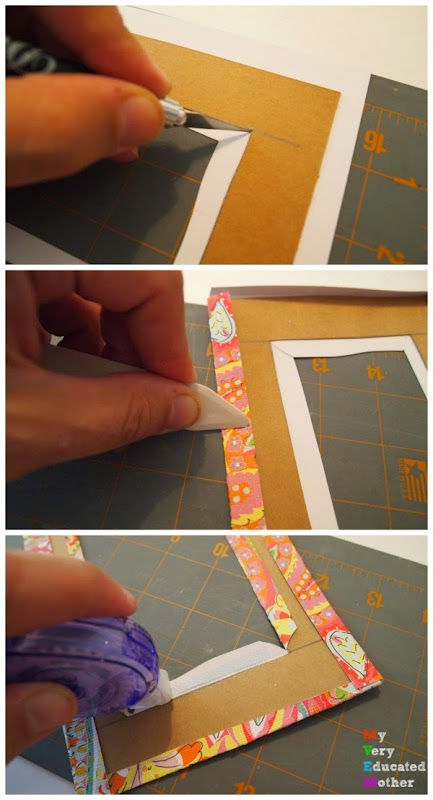 Turn old cereal boxes into colorful photo mats! via @mvemother