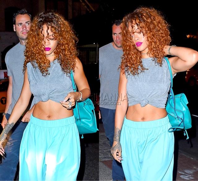Rihanna in Acne's Blue Nubia Cropped Cotton-Blend Taffeta Palazzo Pants