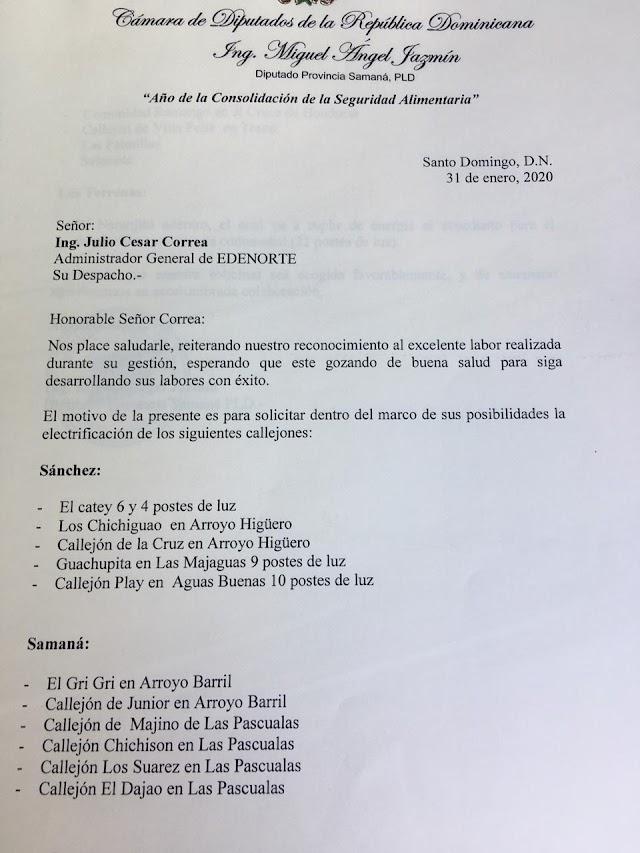 Diputado Miguel Ángel Jazmín, solícita a Edenorte electrificación de varias comunidades de Samaná.