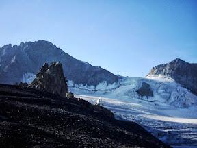 Le Râteau W depuis la gare, glacier de la Girose