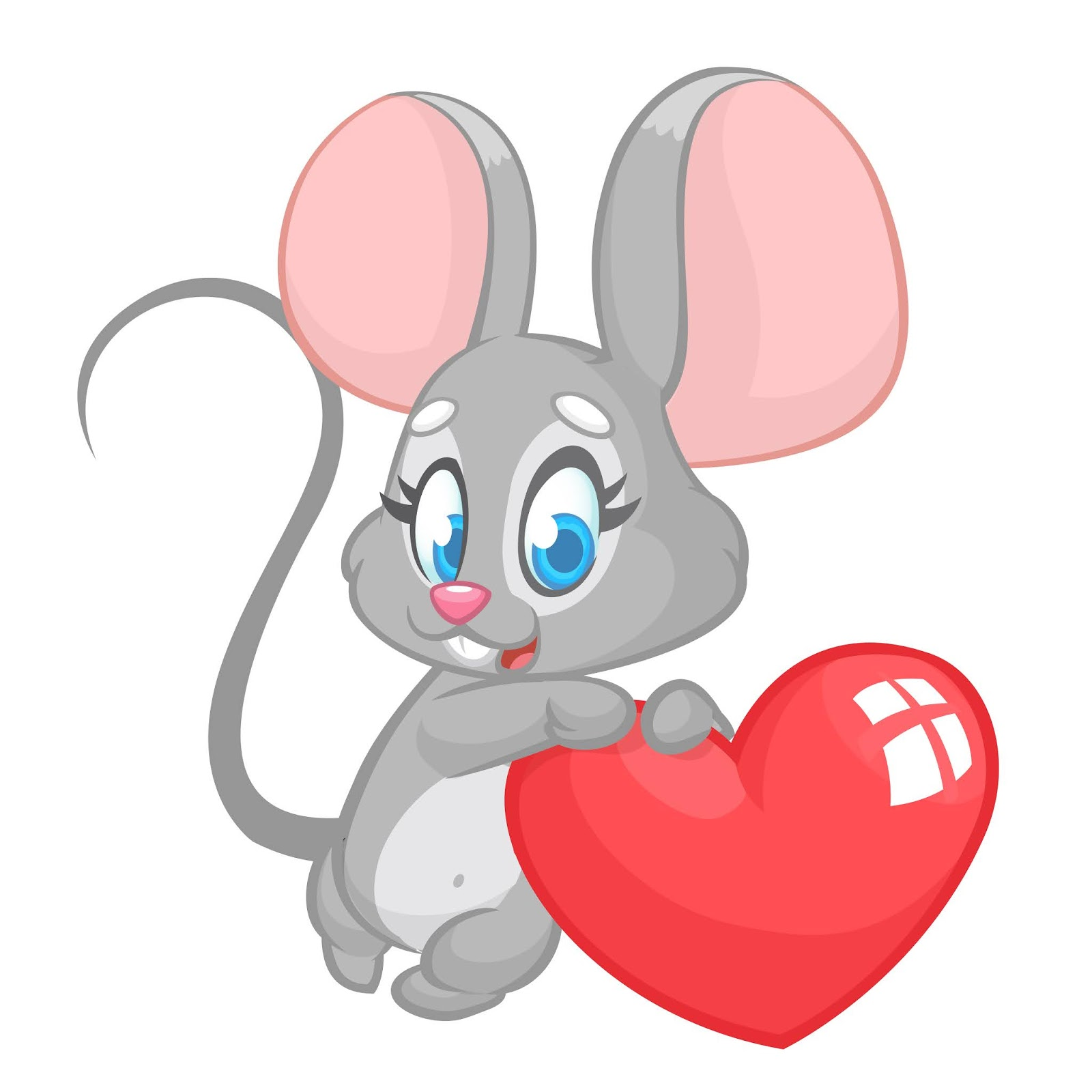 Cartoon Cute Mouse Holding Love Heart Free Download Vector CDR, AI, EPS and PNG Formats