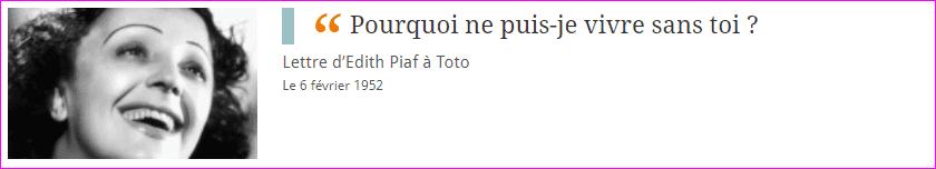 Lettre d'Edith Piaf