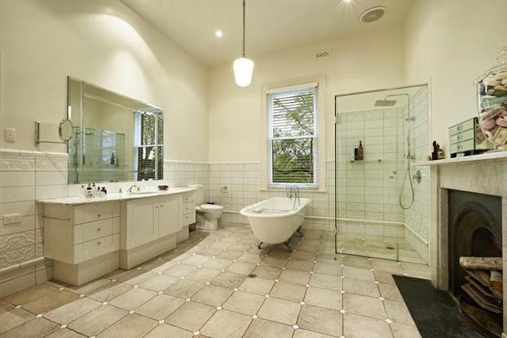 Renovated bathroom at Rotha, 29 Harcourt Street in Hawthorn