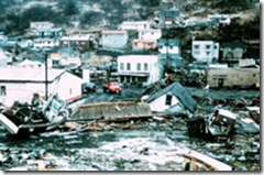 Picture of the 1964 earthquake of downtown Valdez Alaska