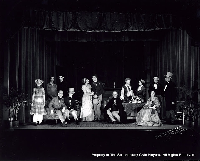 Betty Allen, A.P. Zebuesnic, Robert Sewell, George Harris, D.B. Moulton, Mrs. Harold Falconer, Bernard Nordhoff, Dr. Leonard Chester Jones, Prof. Robert Crowell, Natalie Turche, Letta D. Castleman, Herman Reyes and T.J. Wade in LE VOYAGE DE MONSIEUR PERRICHON - November 1931.  Property of The Schenectady Civic Players Theater Archive.