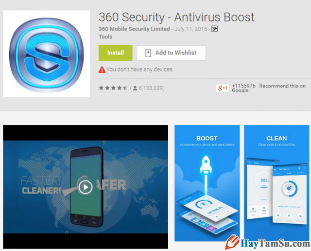 Ứng dụng diệt virus 360 security- Antivirus Boost