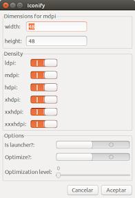 Crear iconos para Android desde Nautilus en Ubuntu - opciones