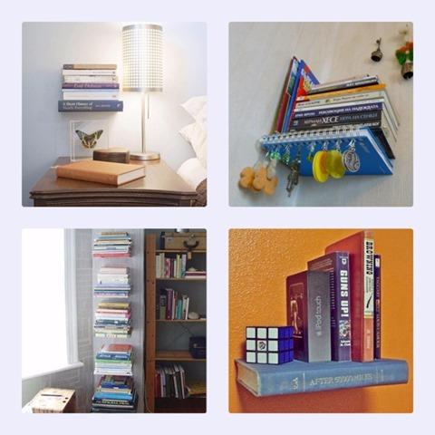 contoh pemasangan rak buku tidak kelihatan