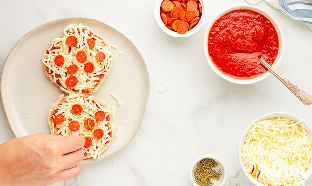 english muffin pizza adding pepperoni