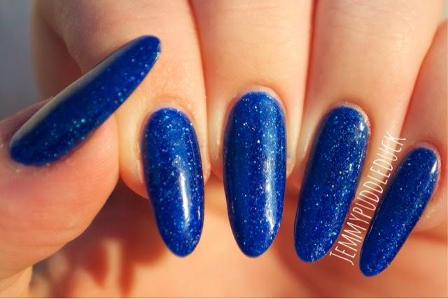Freya's Cats picture polish nail polish varnish glitter blue dark